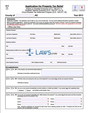 Form AV-9 Application for Property Tax Relief