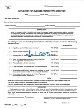 Form AV-12 Application for Business Property Tax Exemption