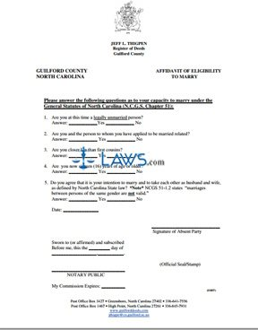 Form Affidavit of Eligibility to Marry