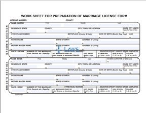 Form Work Sheet for Preparation of Marriage License Form