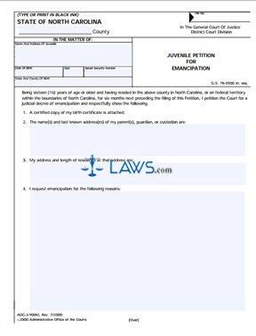 Form Juvenile Petition for Emancipation