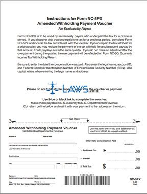 Form NC-5PX Amended Withholding Payment Voucher