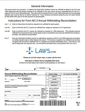 Form NC-3 Annual Withholding Reconciliation