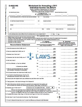 Form D-400X-WS Worksheet for Amending a 2010 Individual Income Tax Return