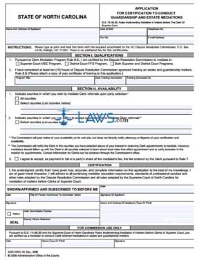 Form AOC-DRC-10 Application for Certification to Conduct Guardianship and Estate Mediations