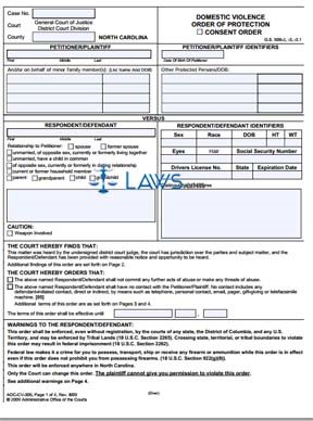 Form AOC-CV-306 Domestic Violence Order of Protection Consent ...