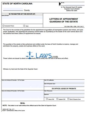 Form Aoc E 407 Letters Of Appointment Guardian Of The