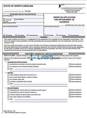 Form AOC-E-406 Order on Application for Appointment of Guardian