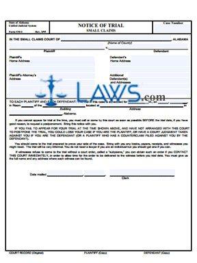 Form SM-4 Notice of Trial