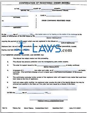 Confirmation of Registered Order Model