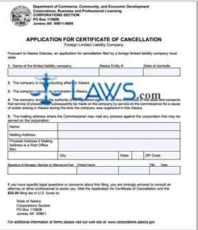 Form 08-476 Application for Certificate of Cancellation