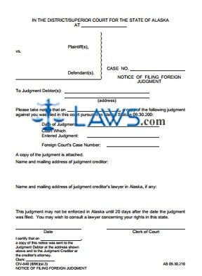 Notice of Filing Foreign Judgment