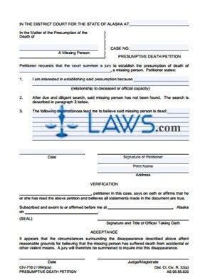 Presumptive Death Petition