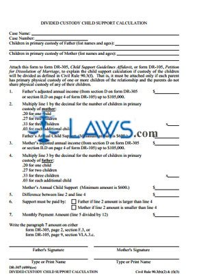 Divided Custody Child Support Calculation