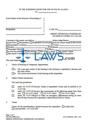 Order Appointing Temporary Guardian Under AS 13.26.140