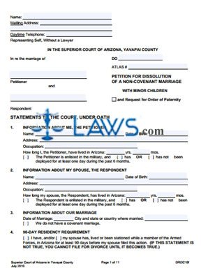 Form DRDC10f Petition For Dissolution Of Non-Covenant Marriage With Minor Children
