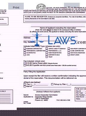 Form CF0059 Application for Name Reservation