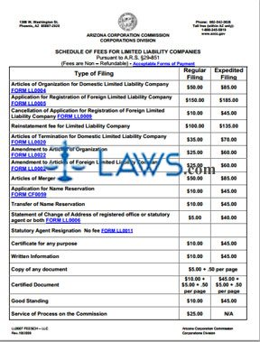 Form LL0007 Limited Liability Companies Fee Schedule