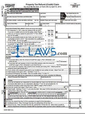 Form AZ-140PTC Property Tax Refund Claim Package