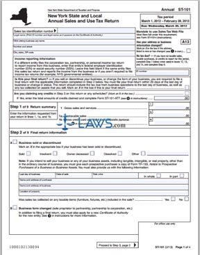 Form ST-101 Local Annual Sales and Use Tax Return - Sales Tax ...