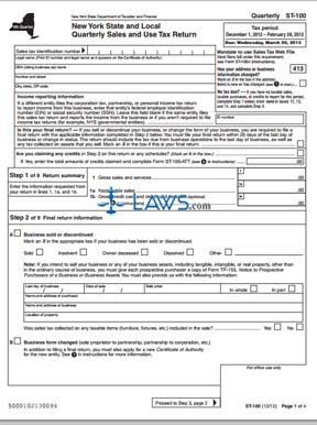 Nys Sales Tax >> Form St 100 Quarterly Sales And Use Tax Return Sales Tax Forms