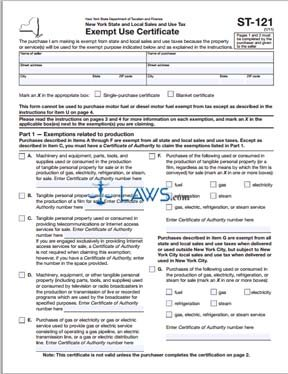 Form ST 121 Sales and Use Tax Exempt Use Certificate - Tax ...