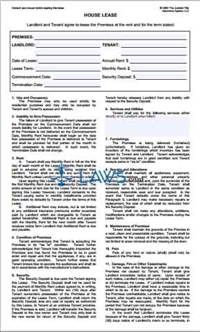 Form House Lease Agreement New York Forms Laws