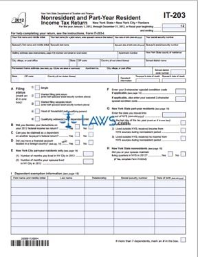 Form IT-203 Nonresident and Part-Year Resident Income Tax Return ...