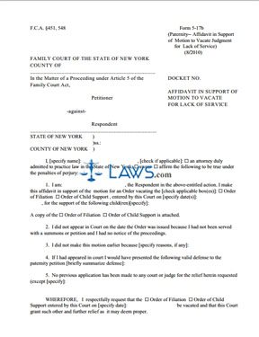 Form 5-17b Affidavit in Support of Motion to Vacate for Lack of Service