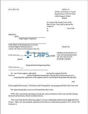 Form Uifsa  Order On Petition On Vacate Registration Of Out Of State Support Order New York