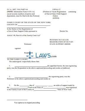 form uifsa 12 petition to vacate registration of out of state