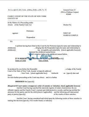 Form GF-23 Writ of Habeas Corpus