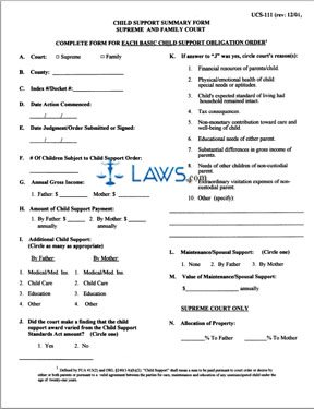 Form UCS-111 Child Support Summary Form - New York Forms - | Laws.com