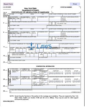 Form DOH-2168 Certificate of Dissolution of Marriage