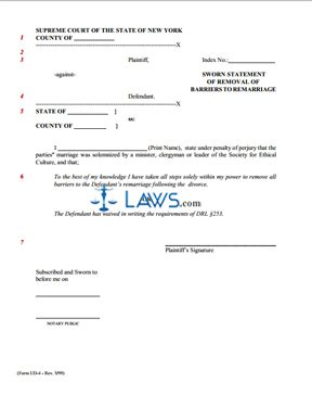 Superior Form UD 4a Sworn Statement Of Removal Of Barriers To Remarriage And  Affidavit Of Service  Affidavit Of Sworn Statement