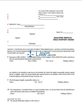 Form Qualified Medical Child Support Order