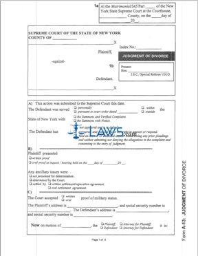 Form A-13 Judgment of Divorce