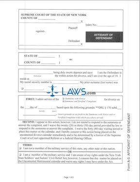 Form A-5 Affidavit of Defendant