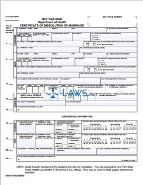 Form Certificate Of Dissolution Of Marriage New York