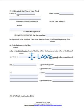 Form CIV-GP-67A Notice of Appeal