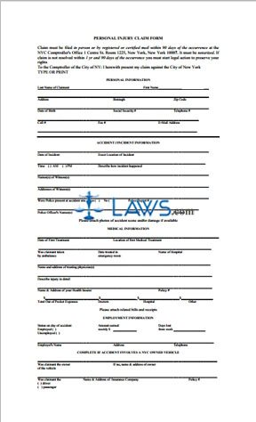 Form Personal Injury Claim Form