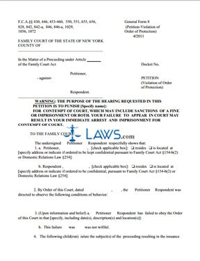 Form 8 Petition Violation of Order of Protection - New York Forms ...