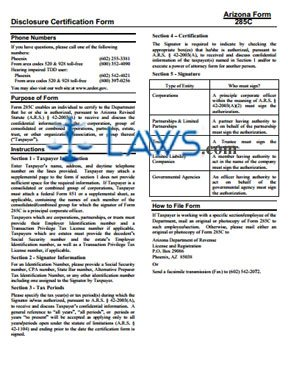 Form Instructions for 285C Disclosure Certification Form