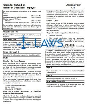 Form Instructions for 131 Claim for Refund on Behalf of Deceased Taxpayers