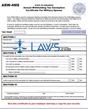 ARW-4MS Tax Exemption Certificate for Military Spouse