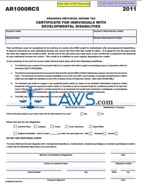 AR1000RC5 Individuals With Developmental Disabilities Certificate