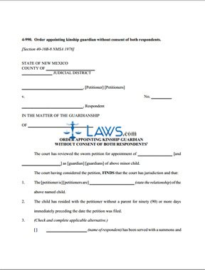 Form 4-990 Order Appointing Kinship Guardian without Consent of Both Respondents