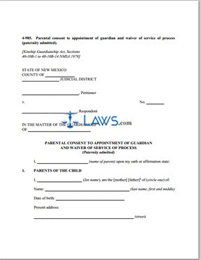 Form 4-985 Parental Consent to Appointment of Guardian and Waiver of Service of Process