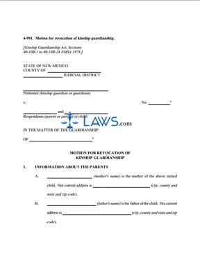 Form 4-991 Motion for Revocation of Kinship Guardianship