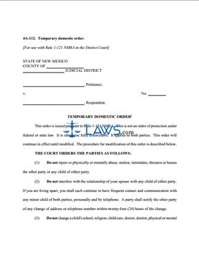 Form 4A-112 Temporary Domestic Order - New Mexico Forms - | Laws.com